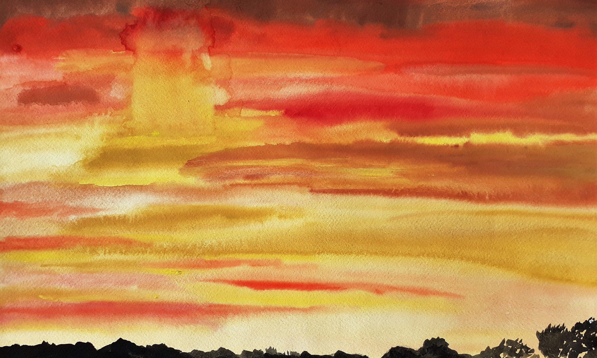 aquarel ondergaande zon